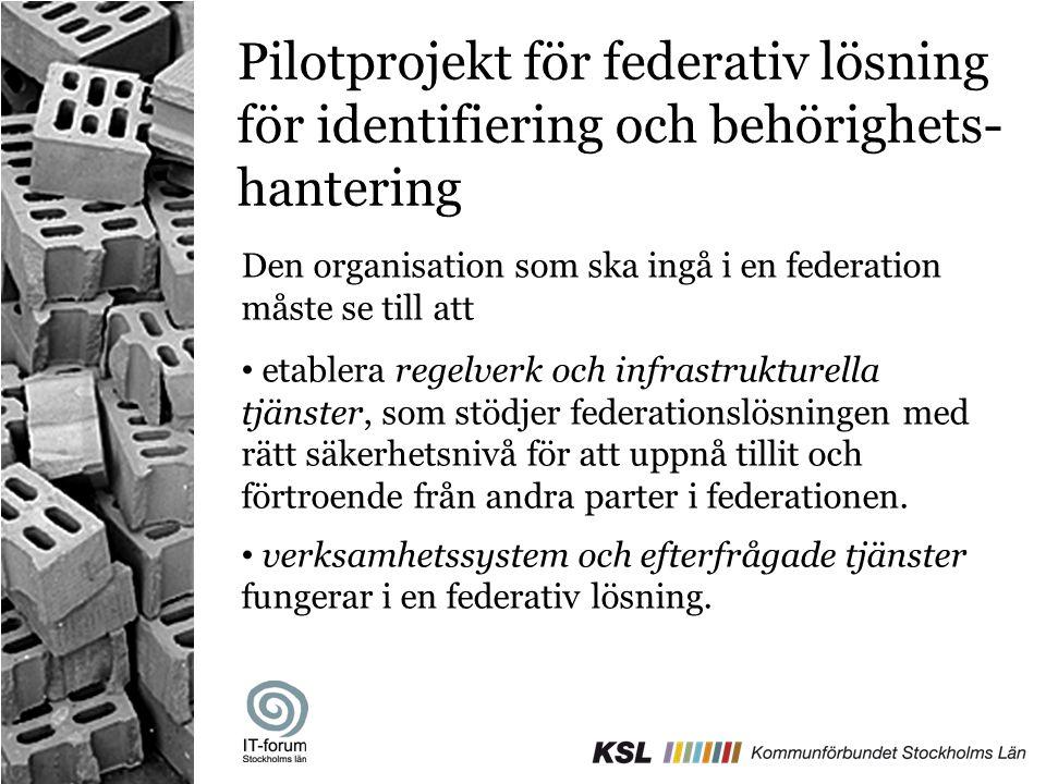 Pilotprojekt för federativ lösning för identifiering och behörighets- hantering Den organisation som ska ingå i en federation måste se till att • etab