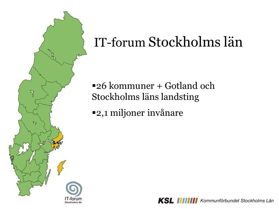 IT-forum Stockholms län  26 kommuner + Gotland och Stockholms läns landsting  2,1 miljoner invånare