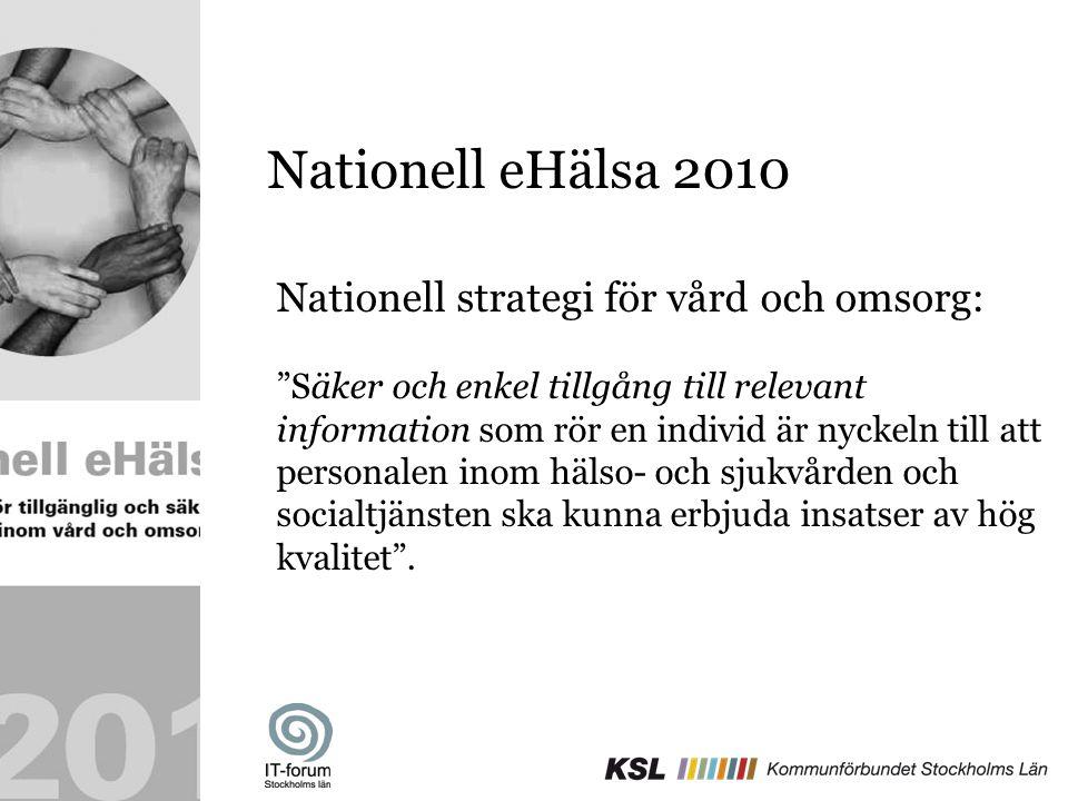 """Nationell eHälsa 2010 Nationell strategi för vård och omsorg: """"Säker och enkel tillgång till relevant information som rör en individ är nyckeln till a"""