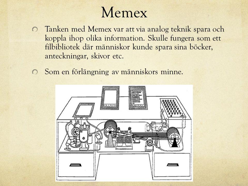 Memex Tanken med Memex var att via analog teknik spara och koppla ihop olika information. Skulle fungera som ett filbibliotek där människor kunde spar