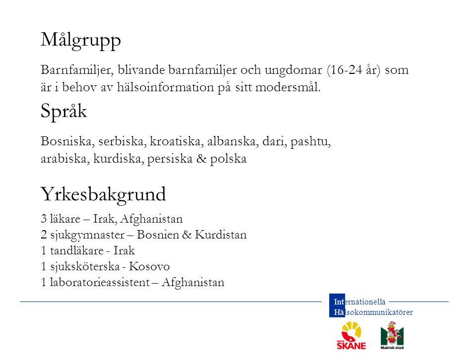 Internationella Hälsokommunikatörer Utbildning av hälsokommunikatörer Samarbete med bl.a.