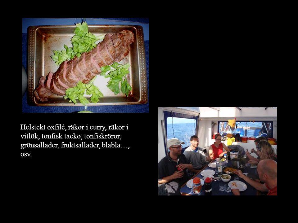 Helstekt oxfilé, räkor i curry, räkor i vitlök, tonfisk tacko, tonfiskröror, grönsallader, fruktsallader, blabla…, osv.