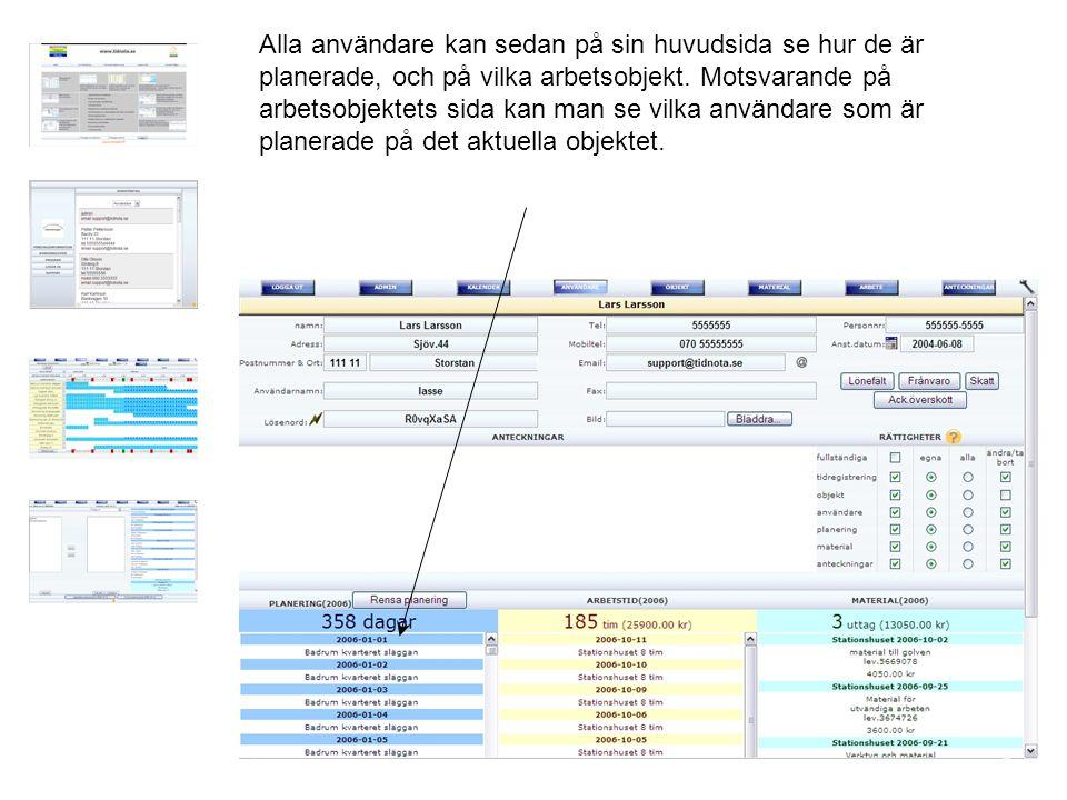 Alla användare kan sedan på sin huvudsida se hur de är planerade, och på vilka arbetsobjekt.