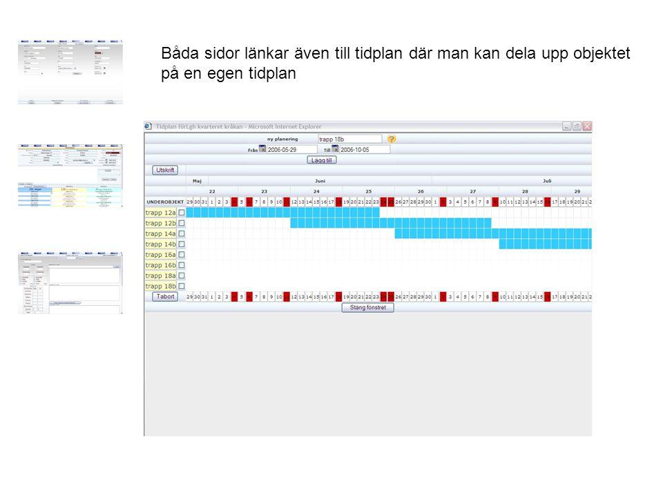 Båda sidor länkar även till tidplan där man kan dela upp objektet på en egen tidplan