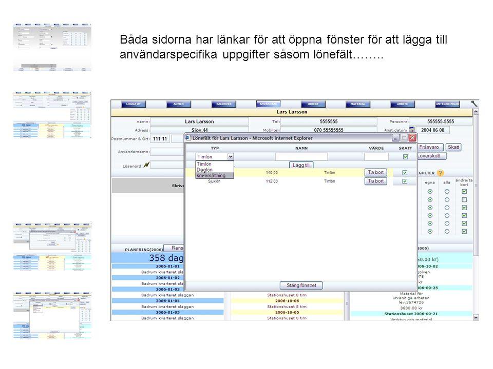 Båda sidorna har länkar för att öppna fönster för att lägga till användarspecifika uppgifter såsom lönefält……..