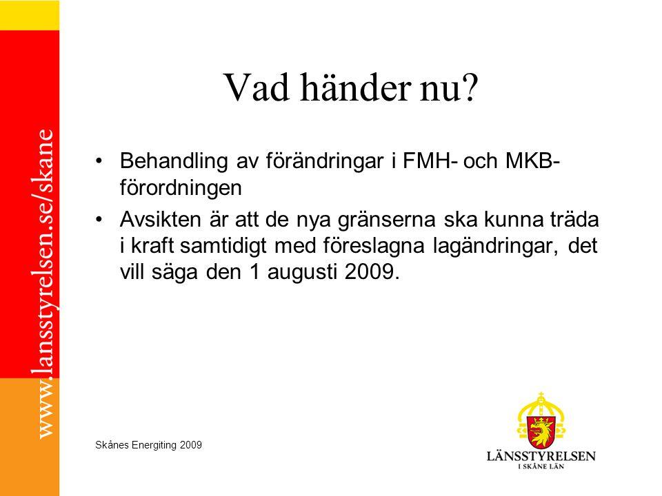 Skånes Energiting 2009 Vad händer nu? •Behandling av förändringar i FMH- och MKB- förordningen •Avsikten är att de nya gränserna ska kunna träda i kra