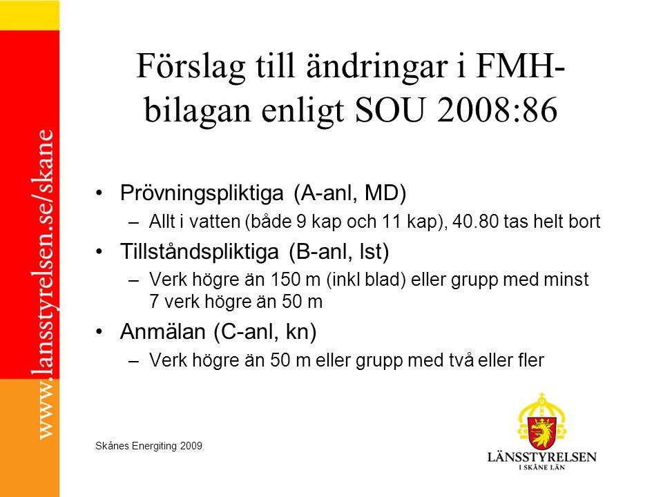 Skånes Energiting 2009 Förslag till ändringar i FMH- bilagan enligt SOU 2008:86 •Prövningspliktiga (A-anl, MD) –Allt i vatten (både 9 kap och 11 kap),