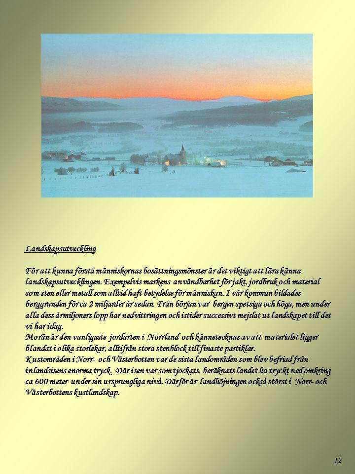 12 Landskapsutveckling För att kunna förstå människornas bosättningsmönster är det viktigt att lära känna landskapsutvecklingen. Exempelvis markens an