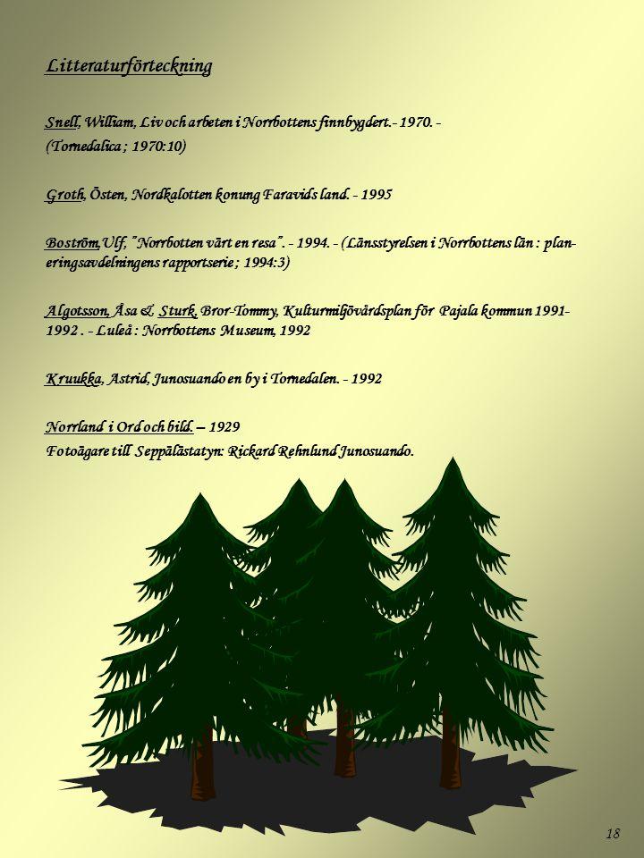 18 Litteraturförteckning Snell, William, Liv och arbeten i Norrbottens finnbygdert.- 1970. - (Tornedalica ; 1970:10) Groth, Östen, Nordkalotten konung