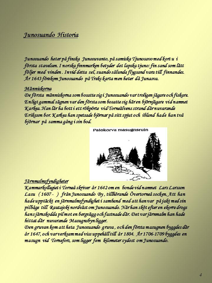 4 Junosuando heter på finska Junosuvanto, på samiska Tjunosavo med kort u i första stavelsen. I norska finnmarken betyder det lapska tjuno: fin sand s