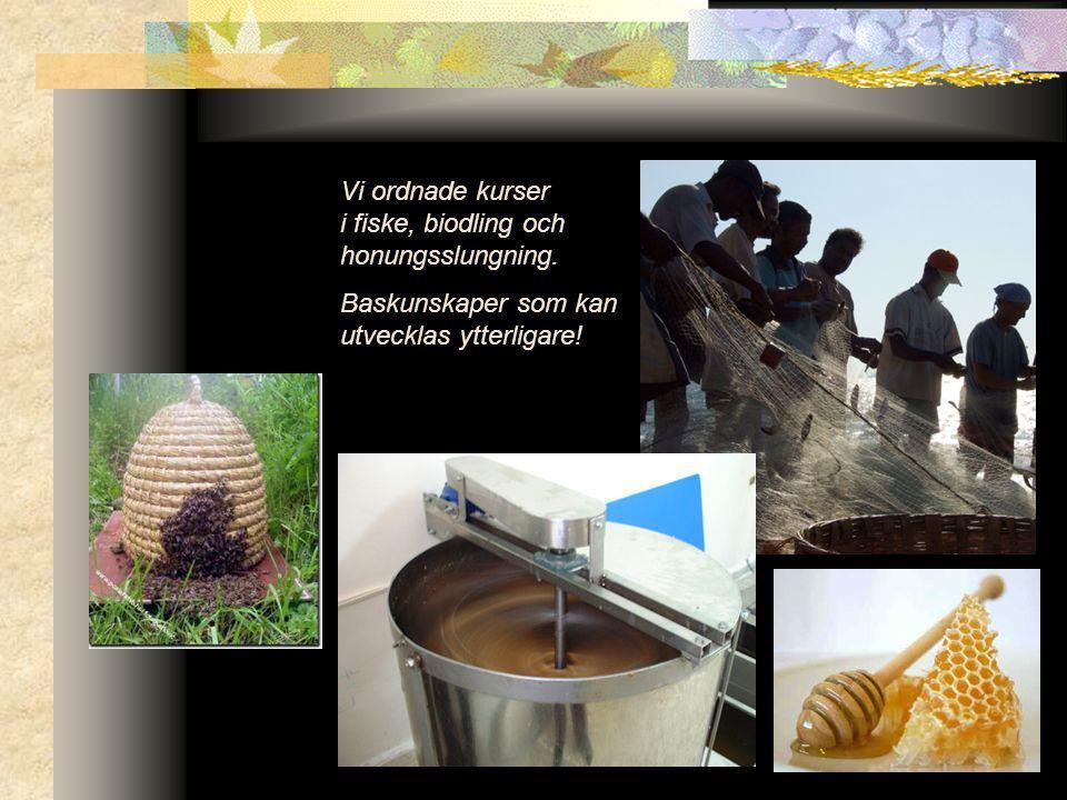 Vi ordnade kurser i fiske, biodling och honungsslungning. Baskunskaper som kan utvecklas ytterligare!
