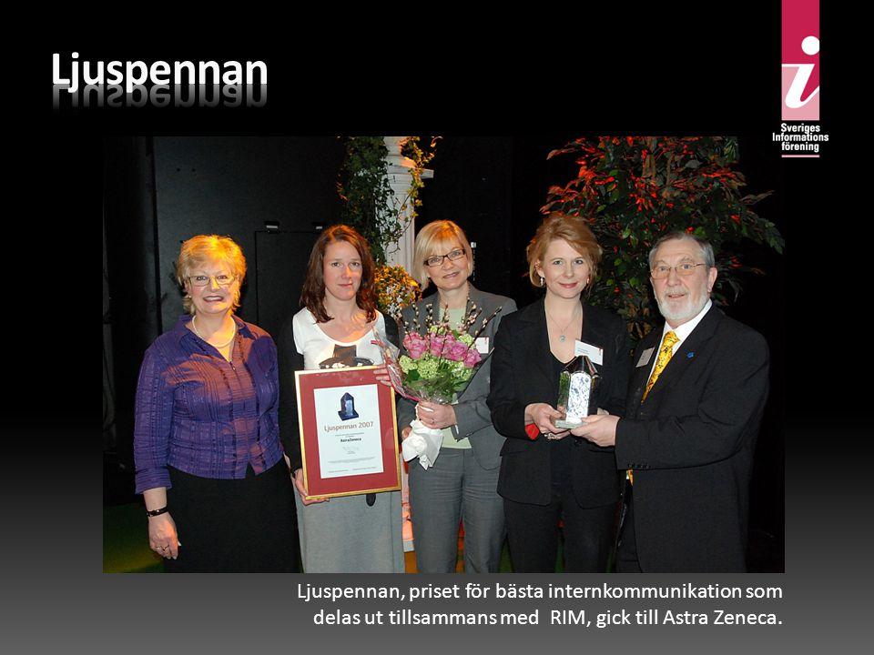 Ljuspennan, priset för bästa internkommunikation som delas ut tillsammans med RIM, gick till Astra Zeneca.