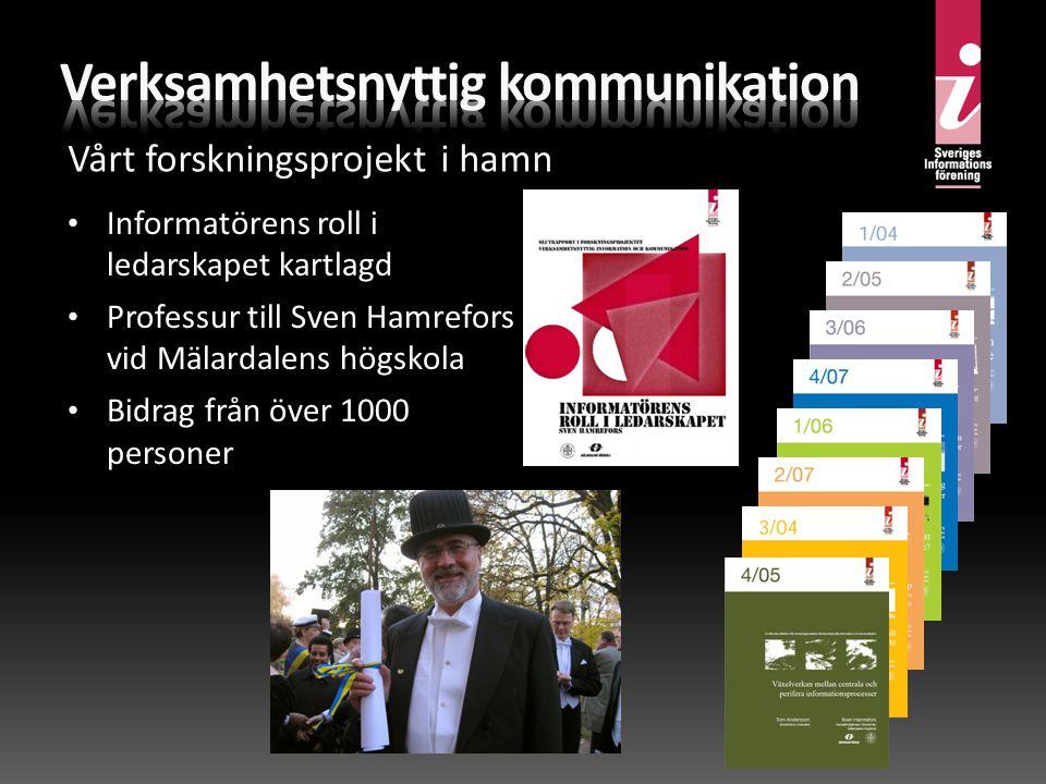 • Informatörens roll i ledarskapet kartlagd • Professur till Sven Hamrefors vid Mälardalens högskola • Bidrag från över 1000 personer Vårt forskningsprojekt i hamn