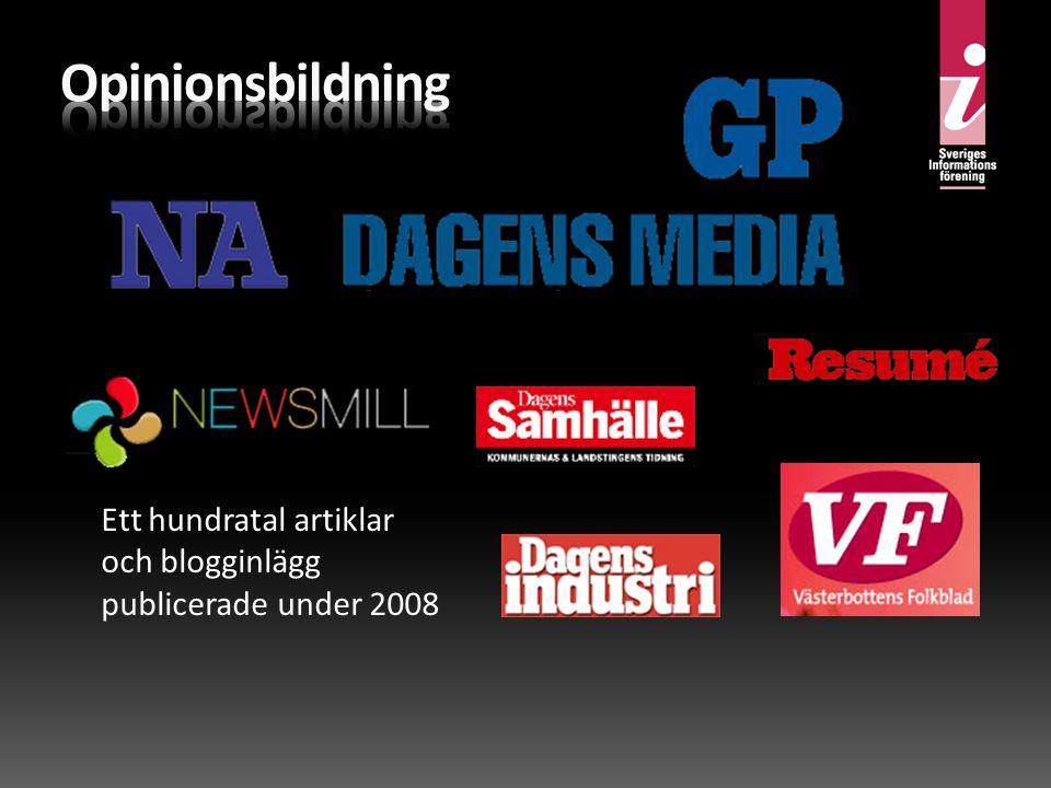 Ett hundratal artiklar och blogginlägg publicerade under 2008