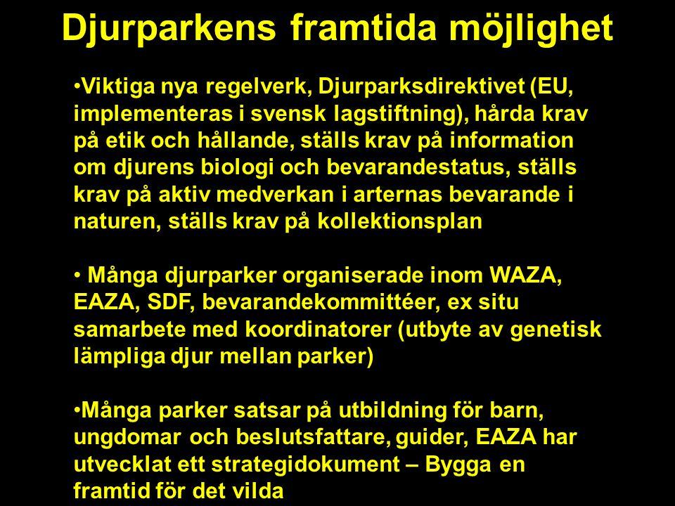 Djurparkens framtida möjlighet •Viktiga nya regelverk, Djurparksdirektivet (EU, implementeras i svensk lagstiftning), hårda krav på etik och hållande, ställs krav på information om djurens biologi och bevarandestatus, ställs krav på aktiv medverkan i arternas bevarande i naturen, ställs krav på kollektionsplan • Många djurparker organiserade inom WAZA, EAZA, SDF, bevarandekommittéer, ex situ samarbete med koordinatorer (utbyte av genetisk lämpliga djur mellan parker) •Många parker satsar på utbildning för barn, ungdomar och beslutsfattare, guider, EAZA har utvecklat ett strategidokument – Bygga en framtid för det vilda