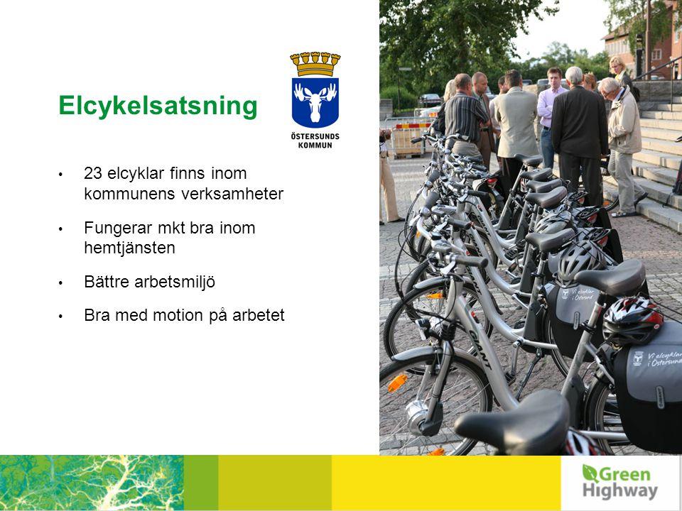 Elcykelsatsning • 23 elcyklar finns inom kommunens verksamheter • Fungerar mkt bra inom hemtjänsten • Bättre arbetsmiljö • Bra med motion på arbetet