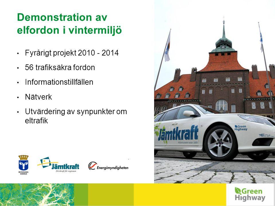 Demonstration av elfordon i vintermiljö • Fyrårigt projekt 2010 - 2014 • 56 trafiksäkra fordon • Informationstillfällen • Nätverk • Utvärdering av synpunkter om eltrafik