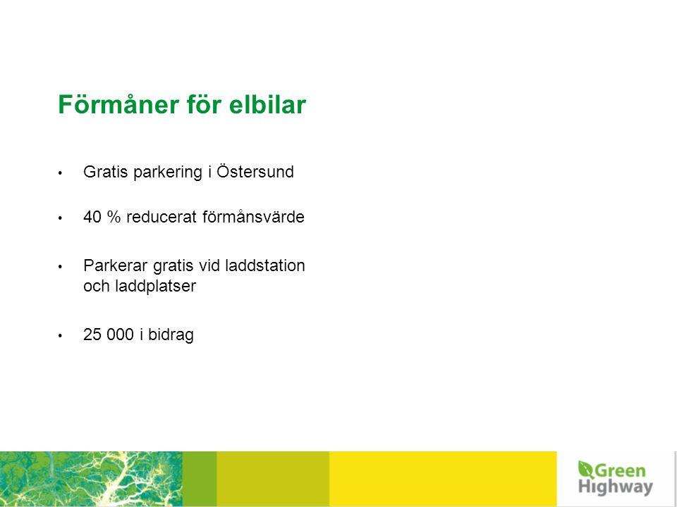 Förmåner för elbilar • Gratis parkering i Östersund • 40 % reducerat förmånsvärde • Parkerar gratis vid laddstation och laddplatser • 25 000 i bidrag