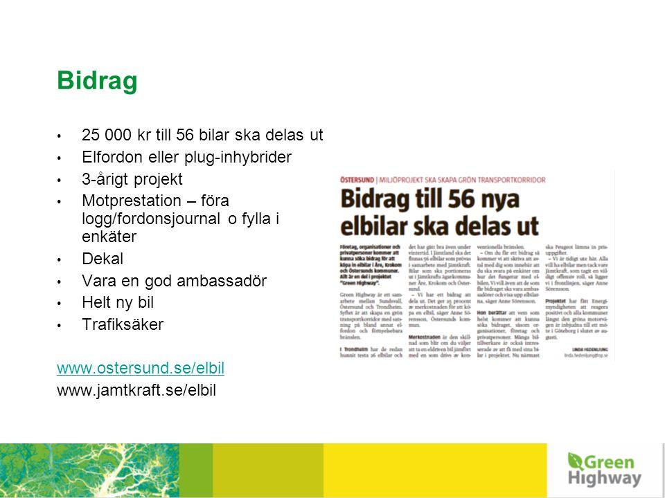 Bidrag • 25 000 kr till 56 bilar ska delas ut • Elfordon eller plug-inhybrider • 3-årigt projekt • Motprestation – föra logg/fordonsjournal o fylla i enkäter • Dekal • Vara en god ambassadör • Helt ny bil • Trafiksäker www.ostersund.se/elbil www.jamtkraft.se/elbil