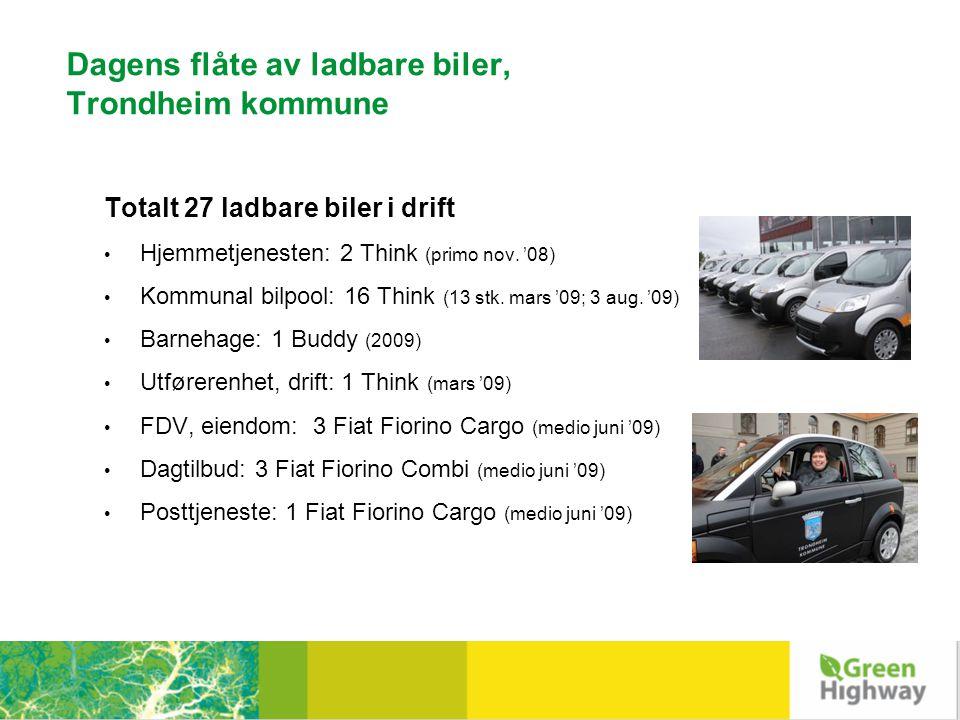 Eltrafikksatsinger i Trondheim Plussen – shuttlebuss, Regionsykehuset (2008) 2 Think City i vanlig Taxitrafikk (2008) Posten erstatter fossilbiler med el-traller og – mopeder (2010) Trondheim Bilkollektiv; 3 Think City (2010) Bygging av ladeinfrastruktur: 49 ladepunkt pr.