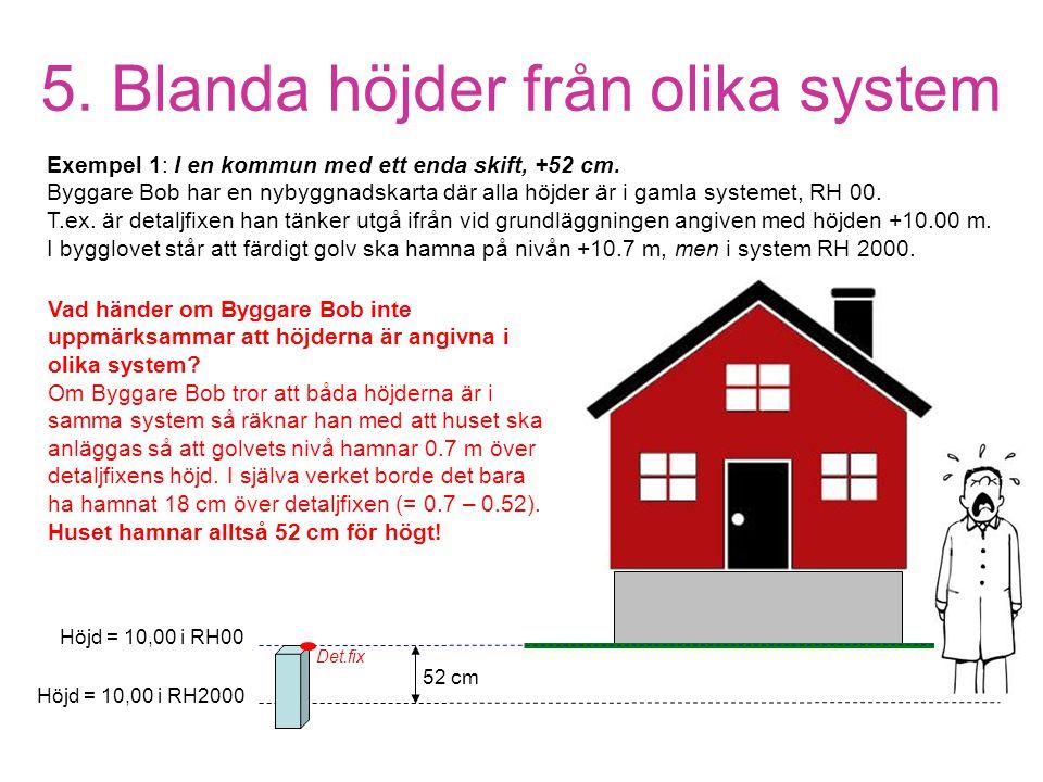 5. Blanda höjder från olika system Höjd = 10,00 i RH00 Höjd = 10,00 i RH2000 Exempel 1: I en kommun med ett enda skift, +52 cm. Byggare Bob har en nyb