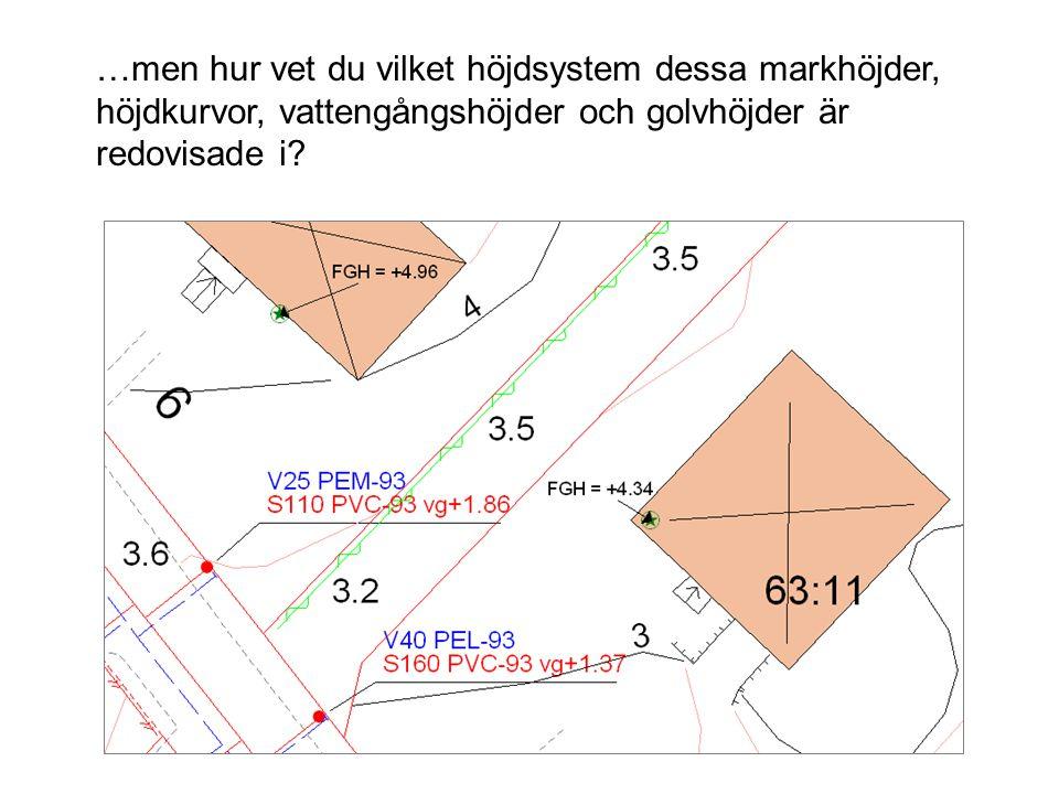 …men hur vet du vilket höjdsystem dessa markhöjder, höjdkurvor, vattengångshöjder och golvhöjder är redovisade i?