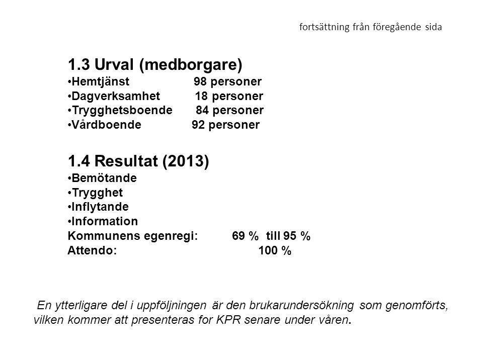 1.3 Urval (medborgare) •Hemtjänst 98 personer •Dagverksamhet 18 personer •Trygghetsboende 84 personer •Vårdboende 92 personer 1.4 Resultat (2013) •Bem