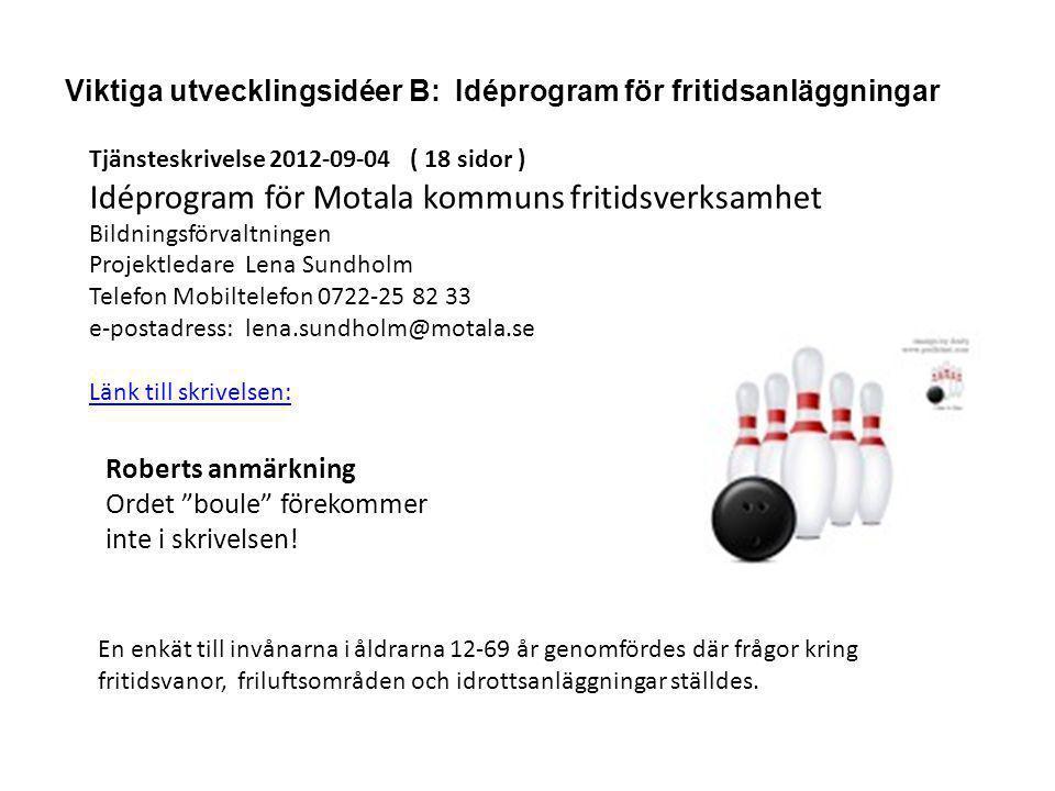 Viktiga utvecklingsidéer B: Idéprogram för fritidsanläggningar Tjänsteskrivelse 2012-09-04 ( 18 sidor ) Idéprogram för Motala kommuns fritidsverksamhe