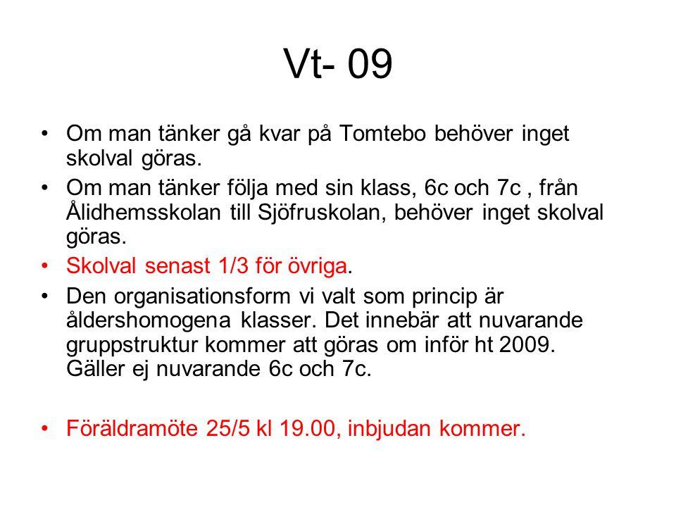 Vt- 09 •Om man tänker gå kvar på Tomtebo behöver inget skolval göras. •Om man tänker följa med sin klass, 6c och 7c, från Ålidhemsskolan till Sjöfrusk
