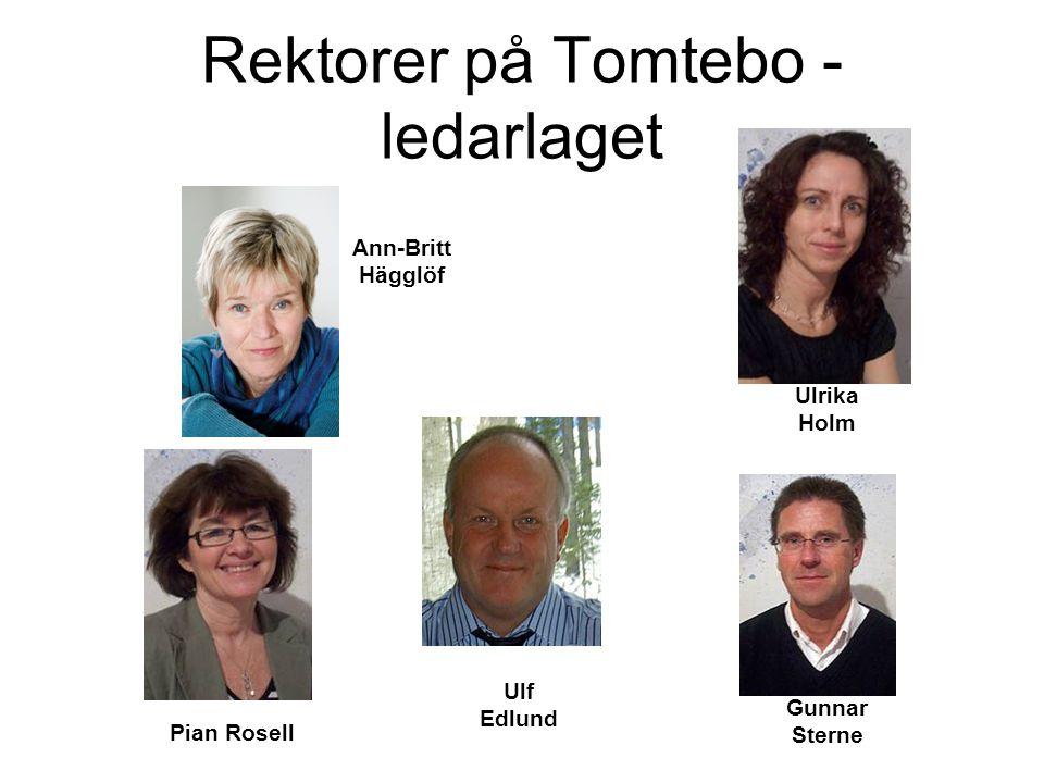 Rektorer på Tomtebo - ledarlaget Ann-Britt Hägglöf Ulrika Holm Gunnar Sterne Pian Rosell Ulf Edlund