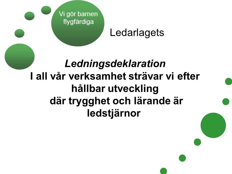 Ledningsdeklaration I all vår verksamhet strävar vi efter hållbar utveckling där trygghet och lärande är ledstjärnor Ledarlagets Vi gör barnen flygfär