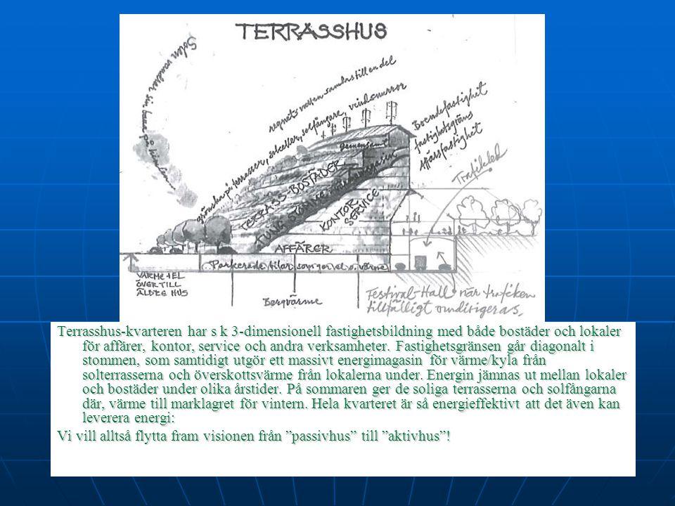 Terrasshus-kvarteren har s k 3-dimensionell fastighetsbildning med både bostäder och lokaler för affärer, kontor, service och andra verksamheter.