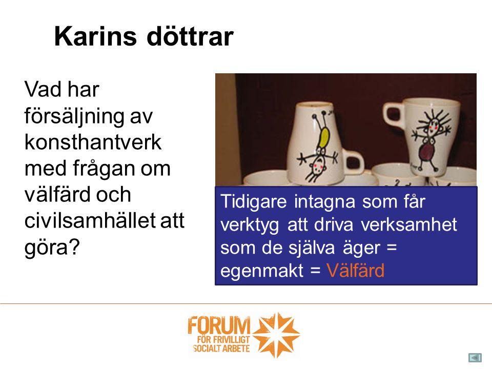Karins döttrar Vad har försäljning av konsthantverk med frågan om välfärd och civilsamhället att göra? Tidigare intagna som får verktyg att driva verk