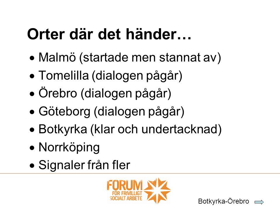  Malmö (startade men stannat av)  Tomelilla (dialogen pågår)  Örebro (dialogen pågår)  Göteborg (dialogen pågår)  Botkyrka (klar och undertacknad)  Norrköping  Signaler från fler Orter där det händer… Botkyrka-Örebro
