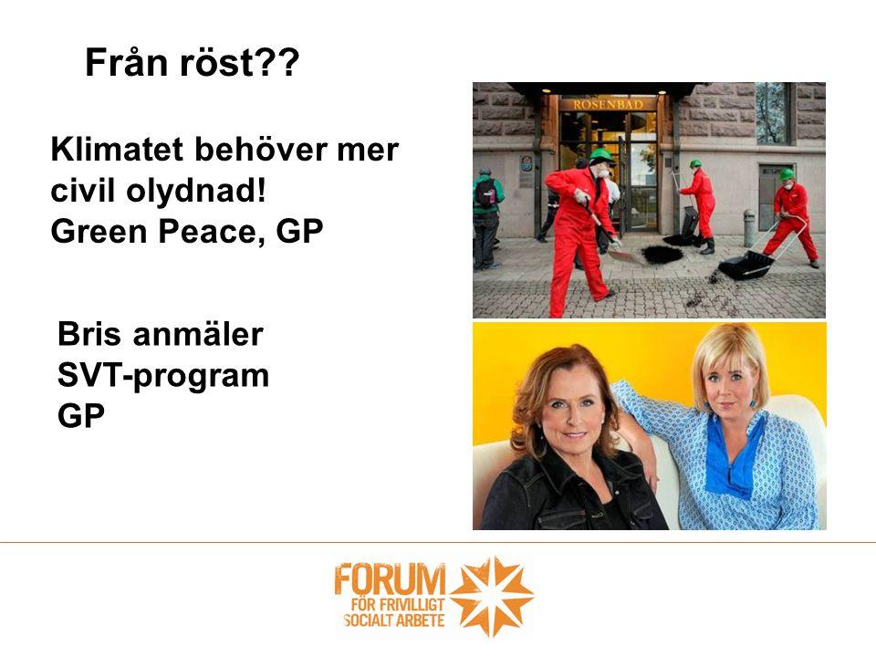 Från röst?? Klimatet behöver mer civil olydnad! Green Peace, GP Bris anmäler SVT-program GP