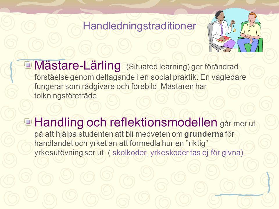 Handledningstraditioner Mästare-Lärling (Situated learning) ger förändrad förståelse genom deltagande i en social praktik. En vägledare fungerar som r