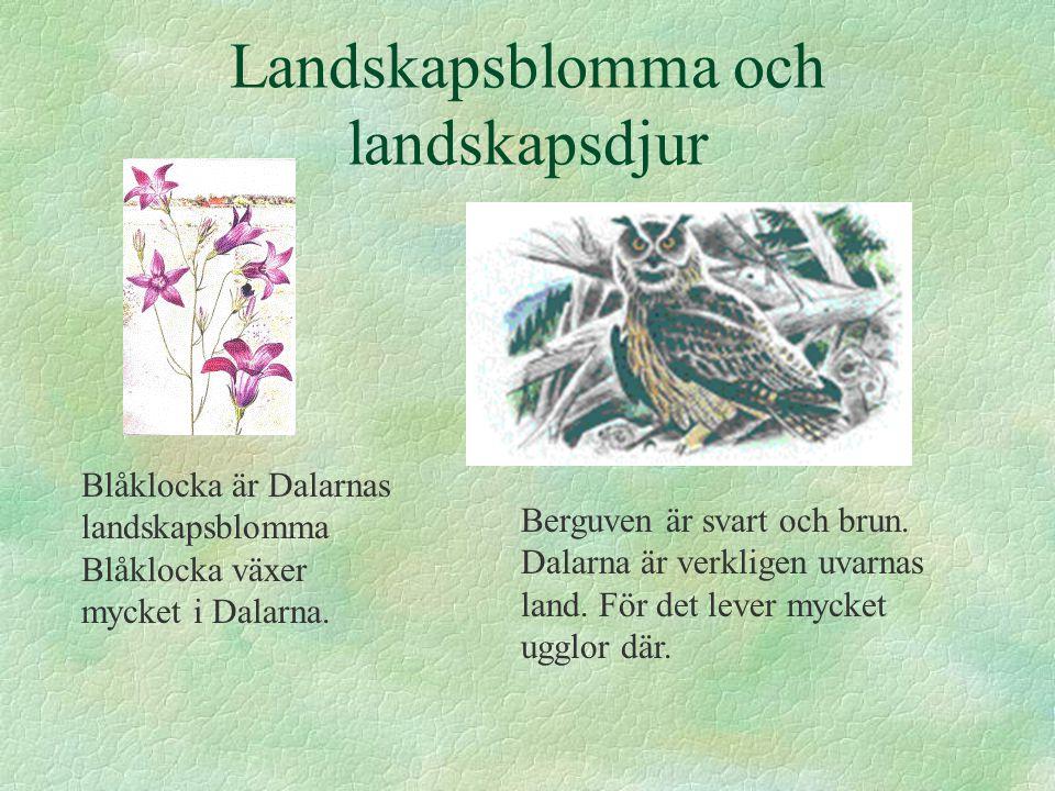 Landskapsblomma och landskapsdjur Blåklocka är Dalarnas landskapsblomma Blåklocka växer mycket i Dalarna. Berguven är svart och brun. Dalarna är verkl