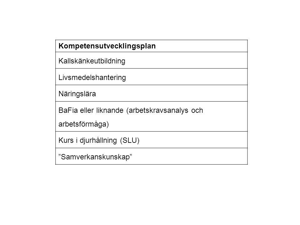 Kompetensutvecklingsplan Kallskänkeutbildning Livsmedelshantering Näringslära BaFia eller liknande (arbetskravsanalys och arbetsförmåga) Kurs i djurhå