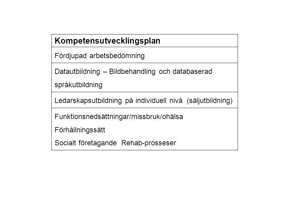Kompetensutvecklingsplan Fördjupad arbetsbedömning Datautbildning – Bildbehandling och databaserad språkutbildning Ledarskapsutbildning på individuell