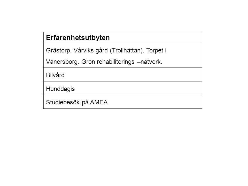 Erfarenhetsutbyten Grästorp. Vårviks gård (Trollhättan). Torpet i Vänersborg. Grön rehabiliterings –nätverk. Bilvård Hunddagis Studiebesök på AMEA