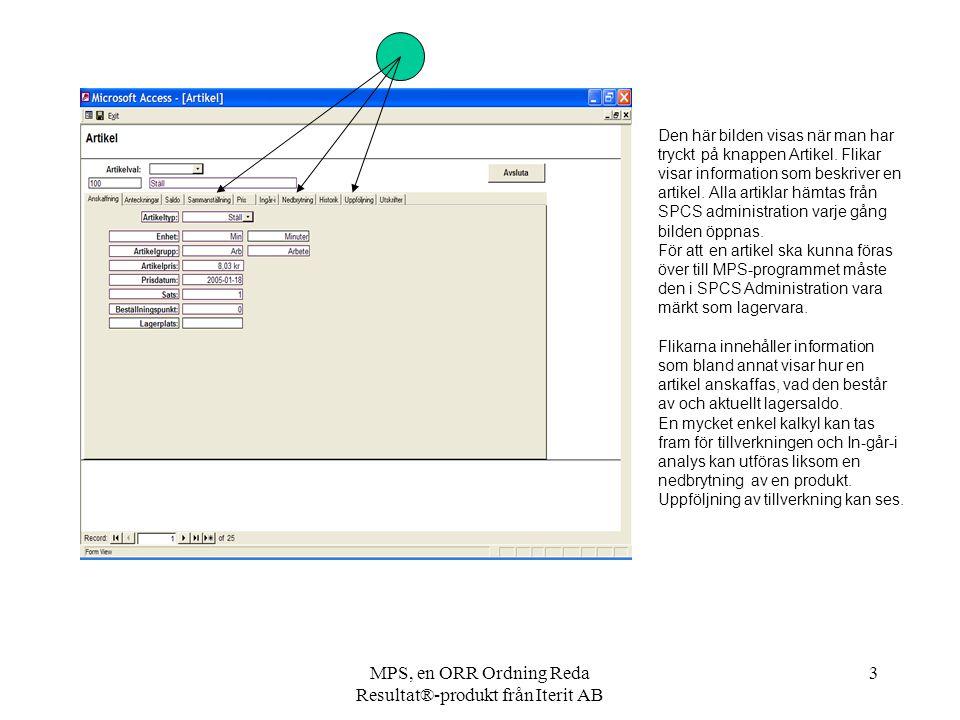MPS, en ORR Ordning Reda Resultat®-produkt från Iterit AB 3 Den här bilden visas när man har tryckt på knappen Artikel. Flikar visar information som b