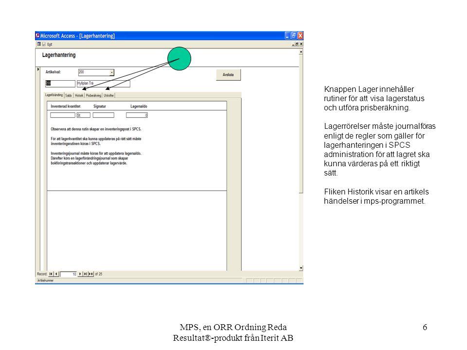 MPS, en ORR Ordning Reda Resultat®-produkt från Iterit AB 6 Knappen Lager innehåller rutiner för att visa lagerstatus och utföra prisberäkning. Lagerr