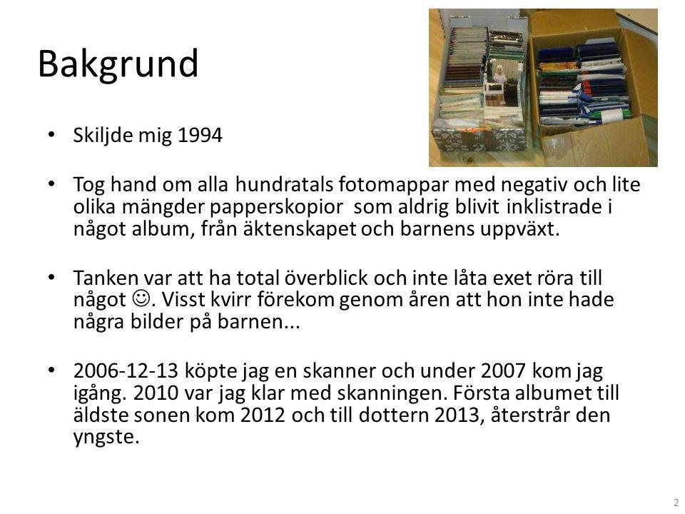 Bakgrund • Skiljde mig 1994 • Tog hand om alla hundratals fotomappar med negativ och lite olika mängder papperskopior som aldrig blivit inklistrade i