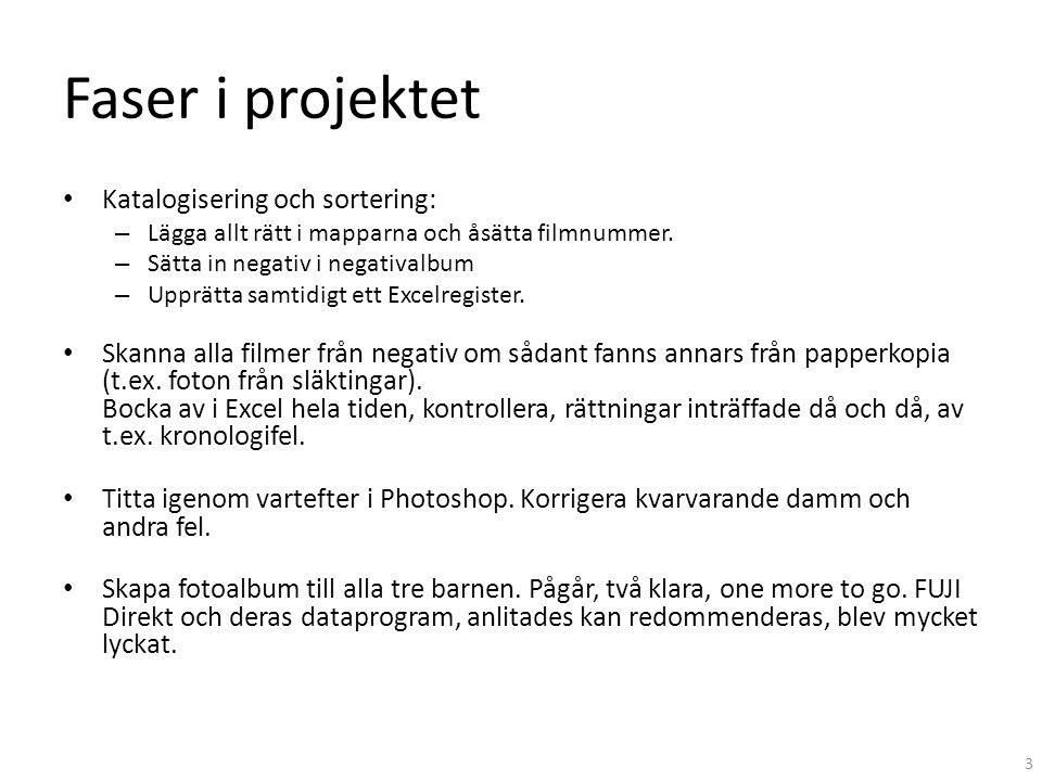Faser i projektet • Katalogisering och sortering: – Lägga allt rätt i mapparna och åsätta filmnummer. – Sätta in negativ i negativalbum – Upprätta sam