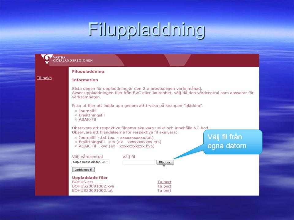 Filuppladdning Välj fil från egna datorn
