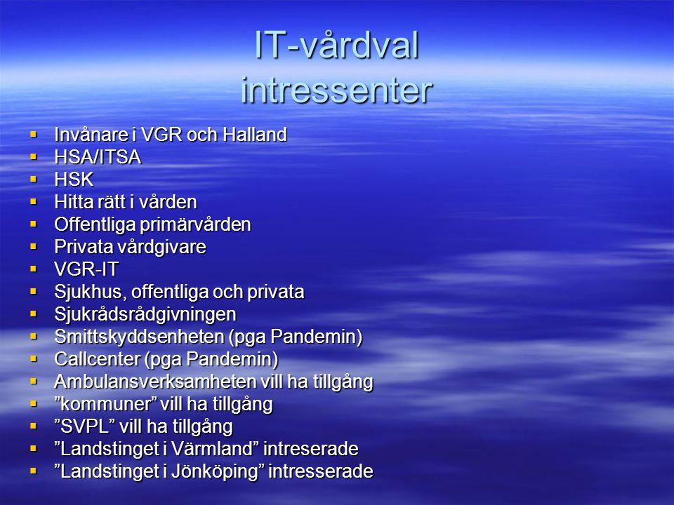 IT-ersättning intressenter  HSA/ITSA  HSK  VGR-IT  Offentliga primärvården  Privata vårdgivare  Landstinget i Värmland intresserade  Landstinget i Jönköping intresserade