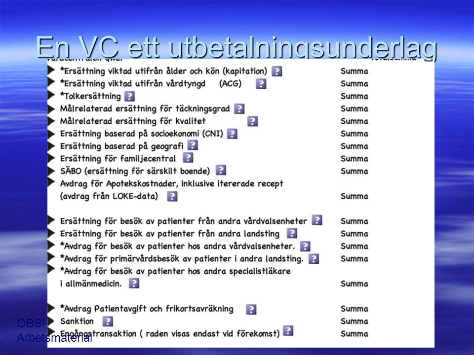 En VC ett utbetalningsunderlag OBS! Arbetsmaterial