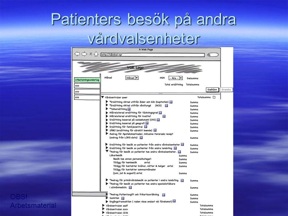 Patienters besök på andra vårdvalsenheter OBS! Arbetsmaterial