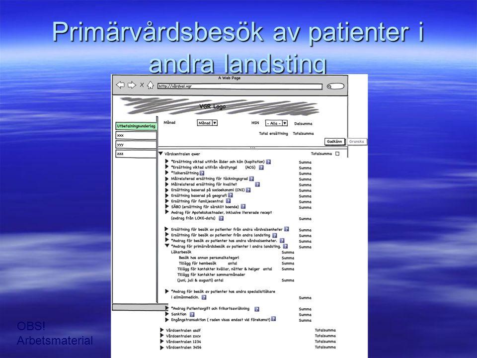 Primärvårdsbesök av patienter i andra landsting OBS! Arbetsmaterial