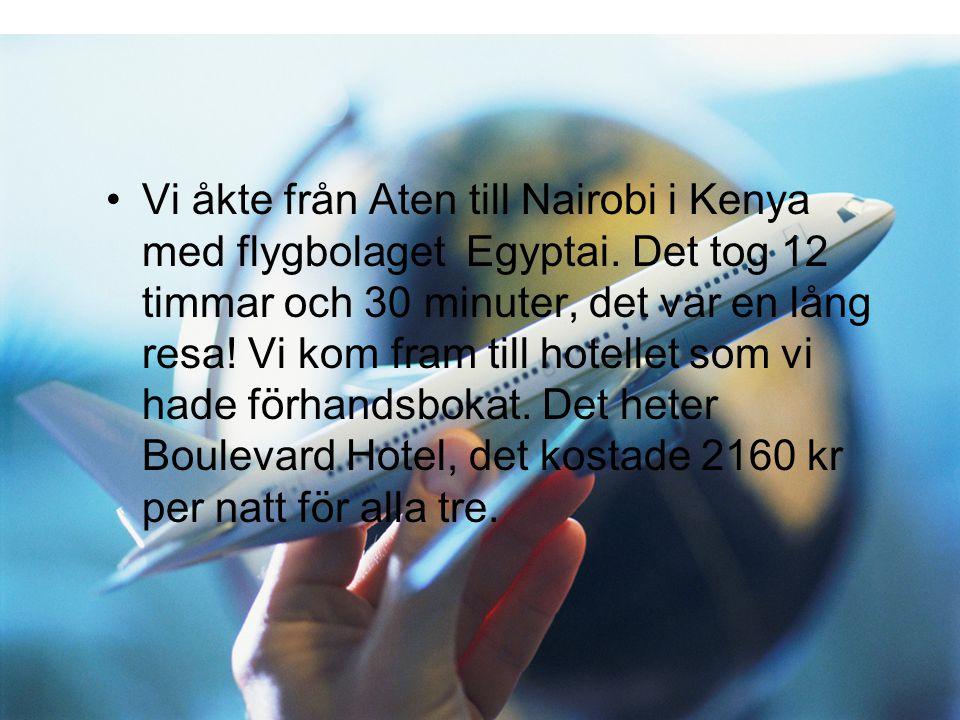 •V•Vi åkte från Aten till Nairobi i Kenya med flygbolaget Egyptai. Det tog 12 timmar och 30 minuter, det var en lång resa! Vi kom fram till hotellet s